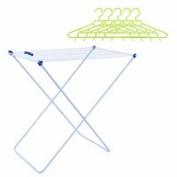 Комплект Сушилник за дрехи Форте с 5 броя пластмасова закачалка PARMASH, Многоцветен