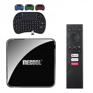 MECOOL KM9 Pro, Mini PC Smart TV Box, ATV Google tanúsítvány, OTA frissítés, Android 10.0, Streaming médialejátszó, Netflix, HBO GO + i8 RGB háttérvilágítású billentyűzet