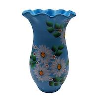 Vaza flori/Suport din ceramica, pictata manual, 24 x 13 cm, lucrat manual, motiv floral, alb/bleu