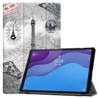 Lenovo Tab M10 (TB-X605F) / Tab M10 HD (TB-X505F) Tok álló, bőr flip tablet tok, TRIFOLD asztali tartó funkció, Eiffel torony, térkép minta, szürke