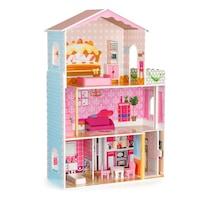EcoToys fa babaház gyerekeknek, 3 emeletes, 4 szobával, lifttel és kiegészítőkkel, 79x29x108cm