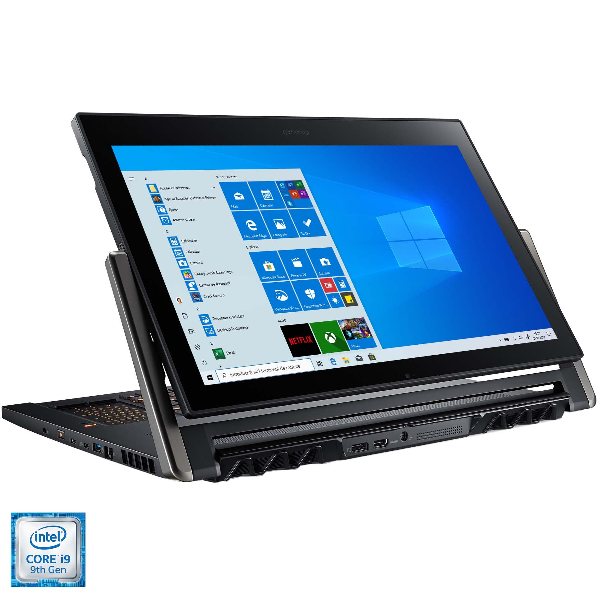 "Fotografie Laptop Acer ConceptD 9 CN917-71 cu procesor Intel® Core™ i9-9980HK pana la 5.00 GHz, 17.3"", 4K UHD, 32GB, 1TB SSD, NVIDIA® GeForce RTX™ 2080 8GB, Windows 10 Pro, Black"