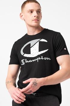 Champion, Double pamutpóló nagyméretű logóval, Fekete/Szürke/Fehér