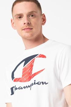 Champion, Double pamutpóló nagyméretű logóval, Fehér/Piros/Tengerészkék