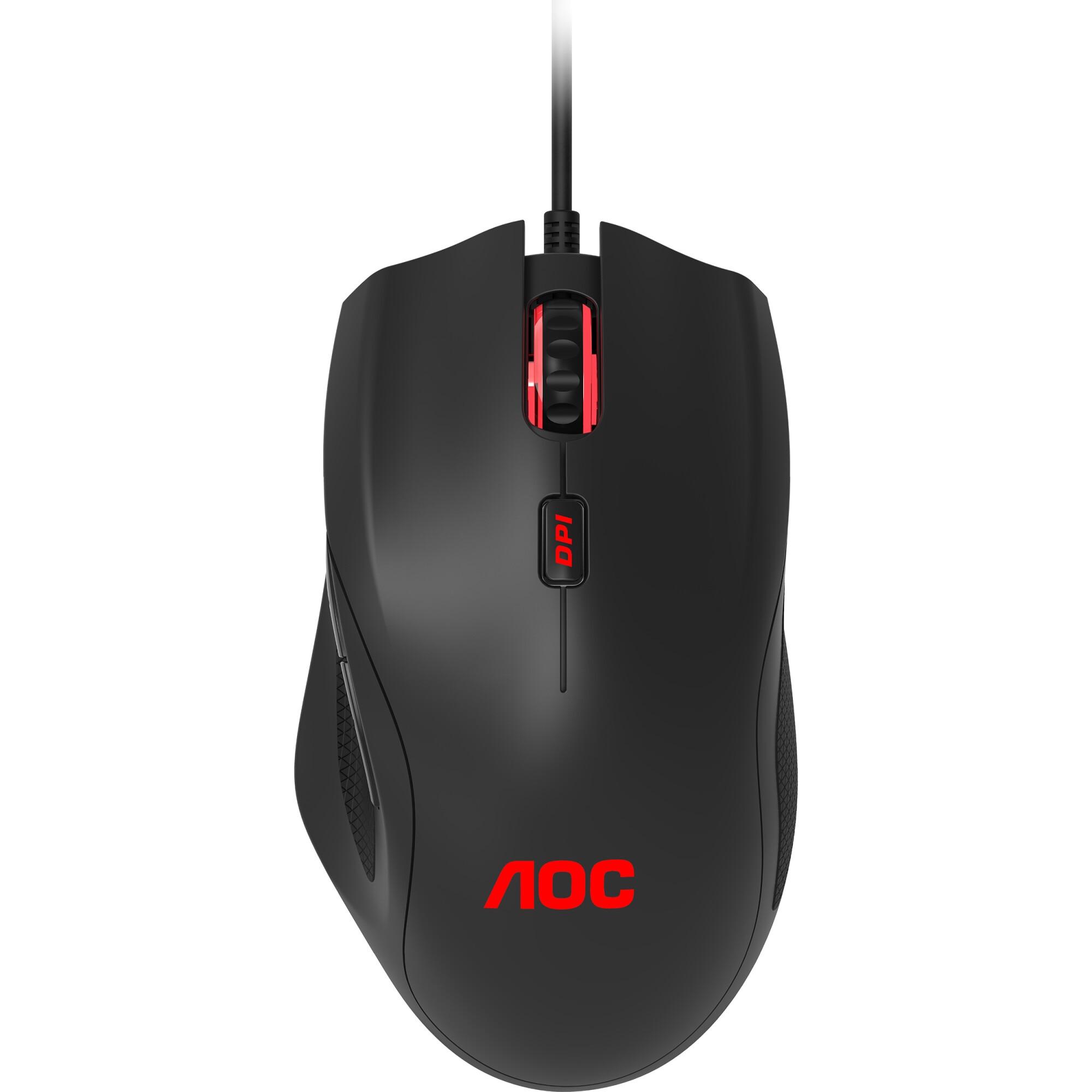 Fotografie Mouse gaming AOC GM200, iluminare RGB, ergonomic dreptaci, Negru
