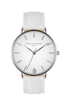 Amelia Parker, Bőrszíjas karóra, Fehér/ezüstszín