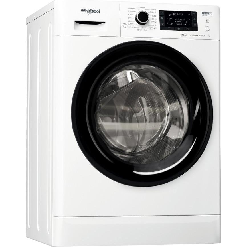 Fotografie Masina de spalat rufe Slim Whirlpool FWSD71283BVEEN, 7 kg, 1200 RPM, Clasa D, Motor Inverter, 6th Sense, FreshCare+, Steam Refresh, Steam Hygiene, Alb