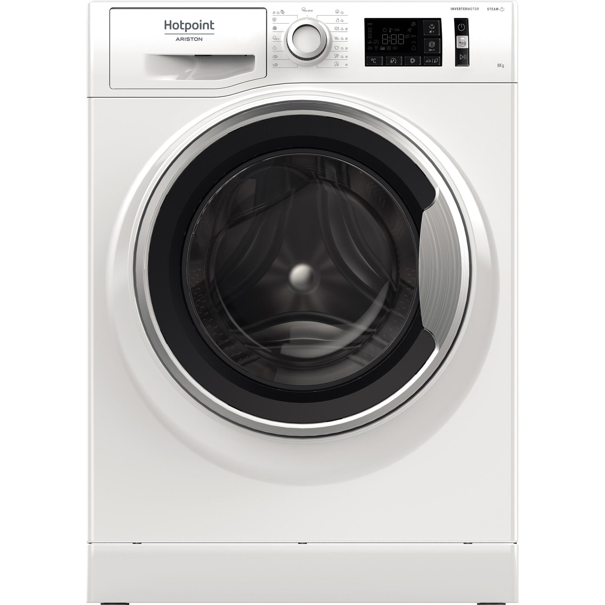 Fotografie Masina de spalat rufe Hotpoint NM11845WSAEUN, 8 kg, 1400 RPM, Clasa B, Motor Inverter, Steam Refresh, Steam Hygiene, Alb