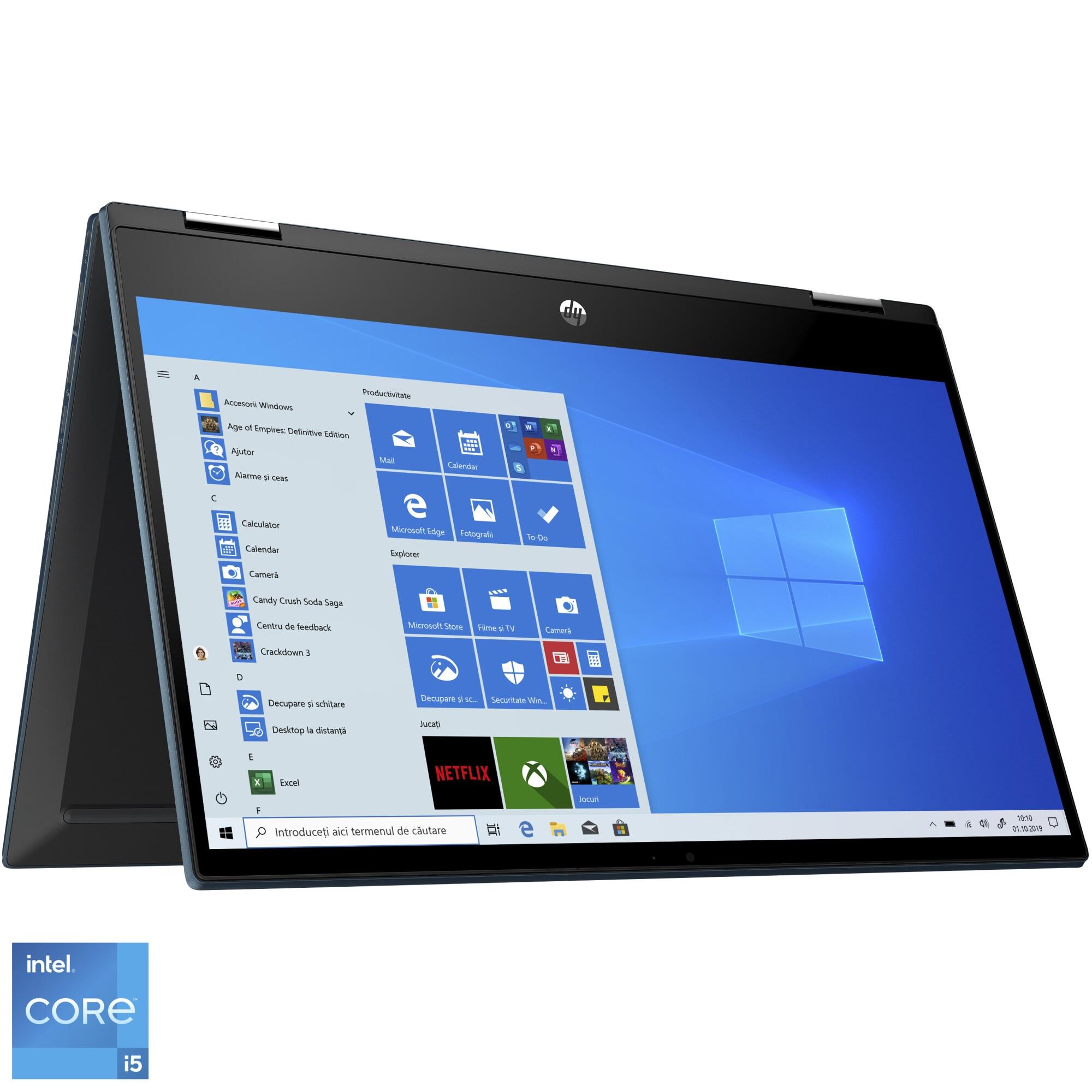 "Fotografie Laptop 2 in 1 HP Pavilion x360 14-dw0046na cu procesor Intel® Core™ i5-1035G1 pana la 3.60 GHz, 14"", Full HD, 8GB, 512GB SSD, Intel® UHD Graphics, Windows 10 Home, Forrest Blue"