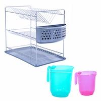 Комплект сушилник за съдове с кани PARMASH, 3 нива, Никел/Пластмаса, Многоцветен, 4 части