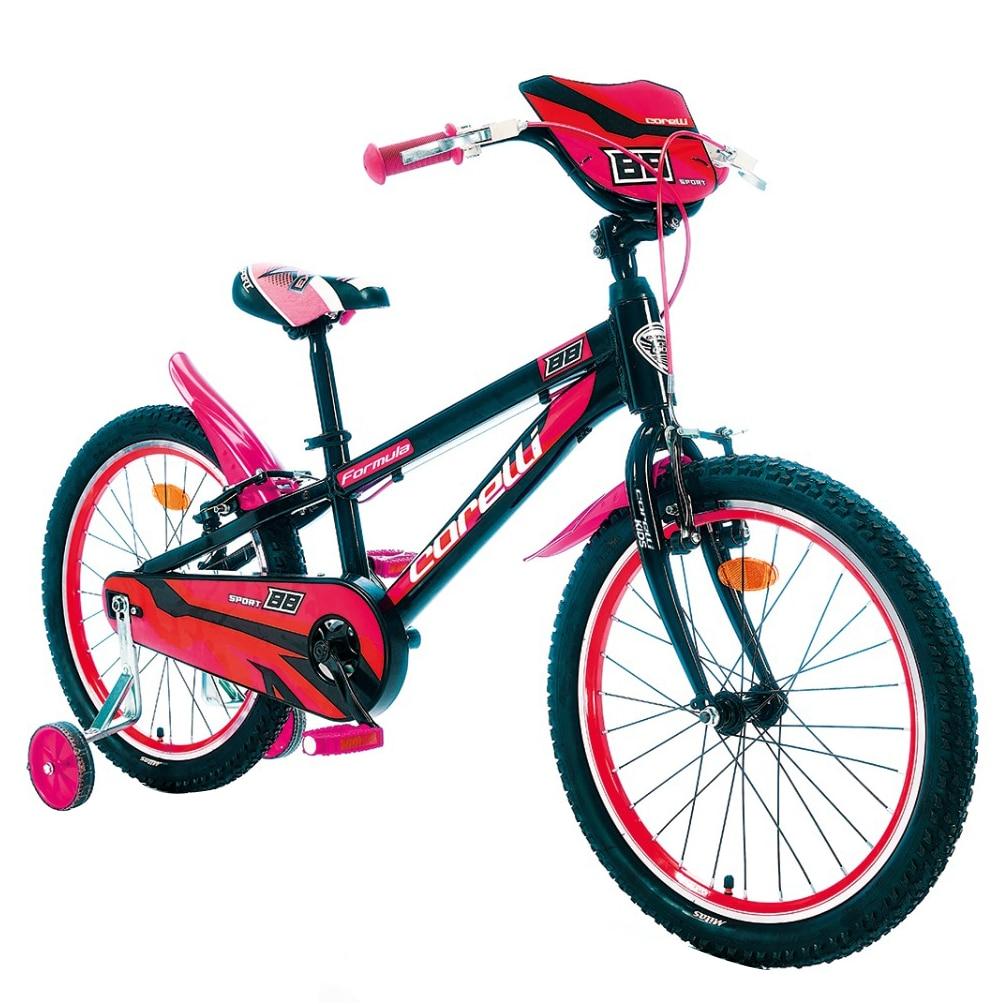 """Fotografie Bicicleta copii Corelli Formula 20"""", single-speed, culoare negru-rosu, accesorii incluse"""