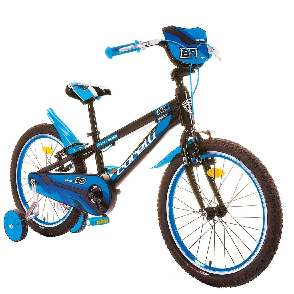"""Fotografie Bicicleta copii Corelli Formula 20"""", single-speed, culoare negru-albastru, accesorii incluse"""
