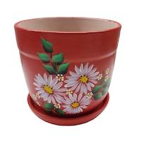 Ghiveci/suport flori cu farfurie, gradina/foisor/balcon, ceramica, 15 h pictat manual, alb/rosu