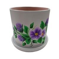 Ghiveci/suport flori cu farfurie, gradina/foisor/balcon, ceramica, 15 h pictat manual, alb/mov