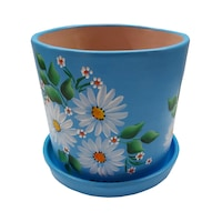 Ghiveci/suport flori cu farfurie, gradina/foisor/balcon, ceramica, 15 h pictat manual, alb/bleu