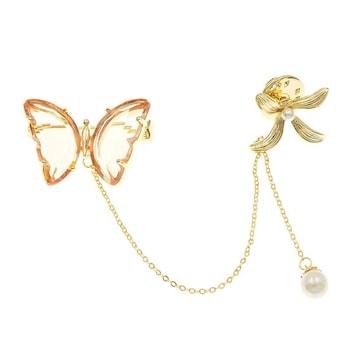 Brosa dubla, cu lant, aurie, fluture si floare, Marthea C5