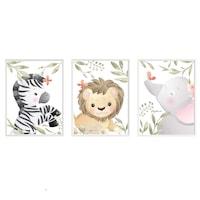 3 festmény készlet a gyerekszobához, Állatok 34, Digital Ascend, MDF keret 30x20cm, biztonságos plexi üveg
