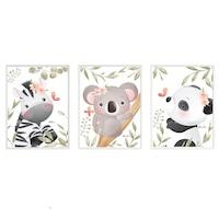3 festmény készlet a gyerekszobához, Állatok 35, Digital Ascend, MDF keret 30x20cm, biztonságos plexi üveg