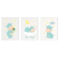 3 festmény készlet a gyerekszobához, Állatok 30, Digital Ascend, MDF keret 30x20cm, biztonságos plexi üveg
