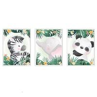 3 festmény készlet a gyerekszobához, Állatok 36, Digital Ascend, MDF keret 30x20cm, biztonságos plexi üveg
