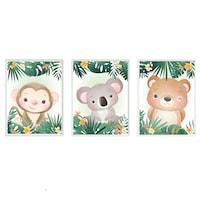 3 festmény készlet a gyerekszobához, Állatok 38, Digital Ascend, MDF keret 30x20cm, biztonságos plexi üveg