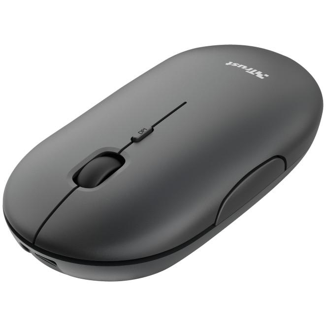 Fotografie Mouse wireless Trust Puck, 2.4GHz si Bluetooth, reincarcabil USB-C, Negru