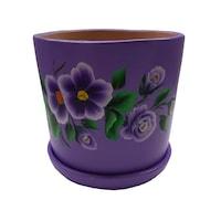 Ghiveci/suport flori cu farfurie, gradina/foisor/balcon, ceramica, 15 h pictat manual, mov