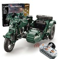 Double Eagle távirányítós építőkészlet oldalkocsis katonai motor (629 db, 36 cm 2.4GHz) RC harci építőkocka játék szett EE Double E CaDa (C51021W) (lego technic kompatibilis)