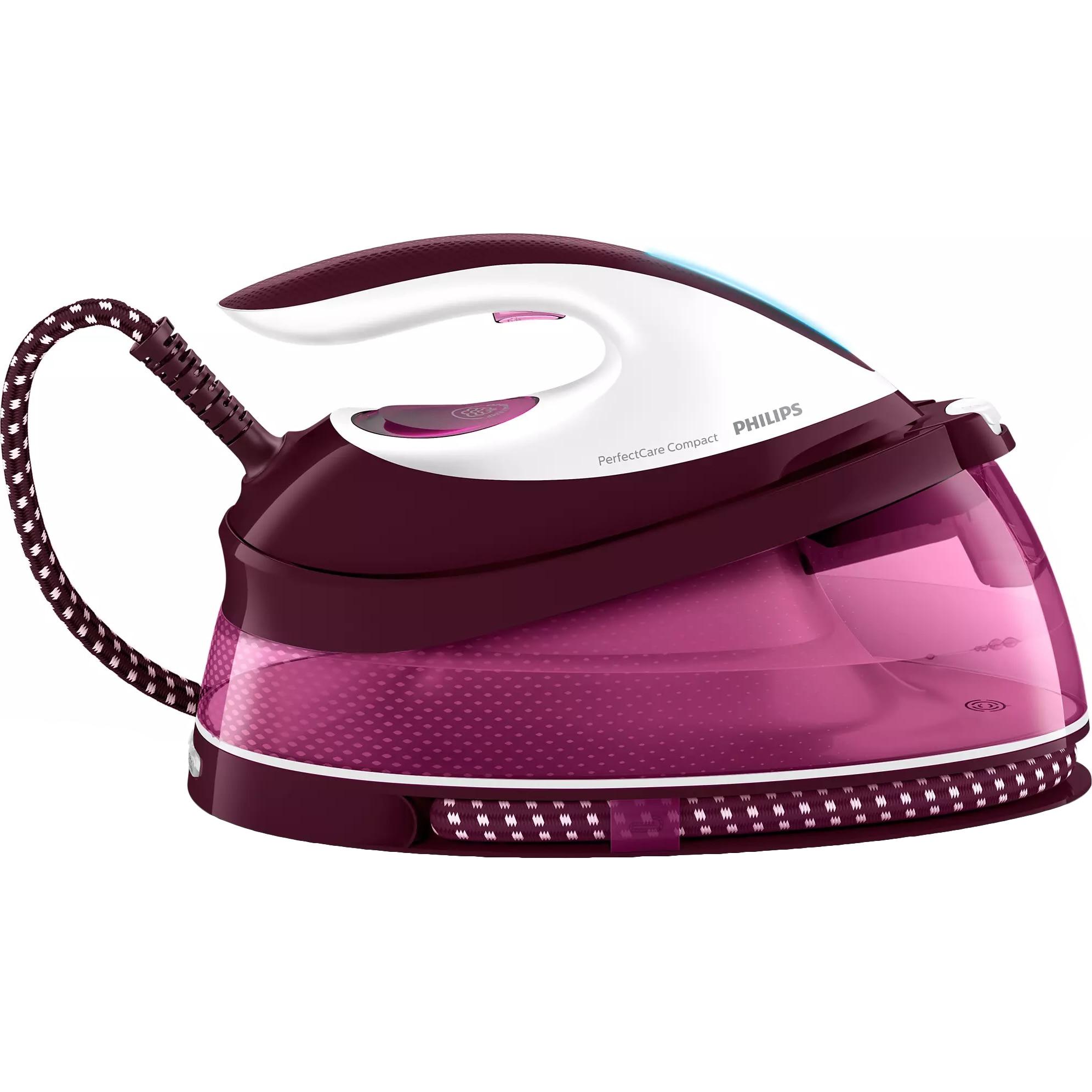 Fotografie Statie de calcat Philips PerfectCare Compact GC7842/40, Optimal Temp, talpa Steam Glide, 120 g/min, 400 g abur, 6.5 bari, rezervor 1500 ml, Smart Calc Clean, Violet