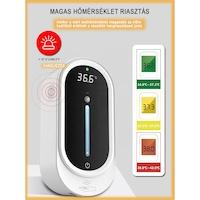 Szenzoros automata szappanadagoló hőmérővel / Érzékelős alkoholos kézfertőtlenítő állomás, beépített hőmérővel, LCD kijelzővel, 1000ml-es tartállyal, exkluzív dizájn