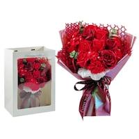 BoxEnjoy - Szappanrózsa virágcsokor dísztasakban piros