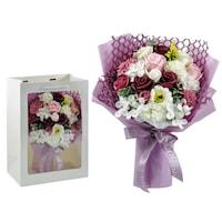 BoxEnjoy - Szappanrózsa virágcsokor dísztasakban lila