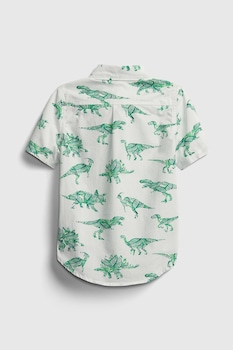 GAP, Camasa cu dinozaur si maneci scurte, Alb/verde