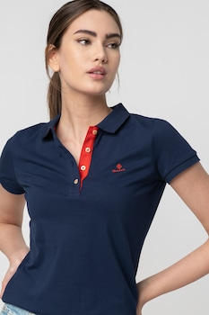 Gant, Galléros póló hímzett logóval, Tengerészkék/Piros