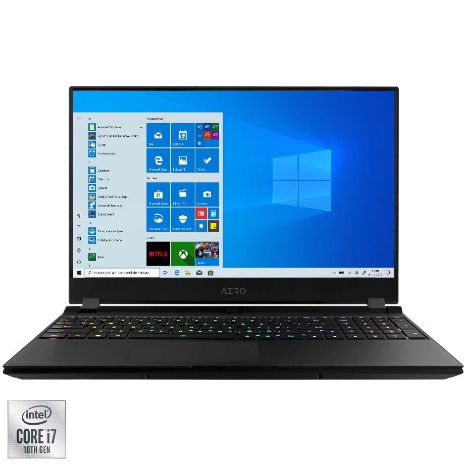 "Fotografie Laptop Gaming Gigabyte AERO OLED 15 cu procesor Intel® Core™ i7-10870H pana la 5.00 GHz, 15.6"", UHD, 16GB, 512GB SSD, NVIDIA GeForce RTX 3060 6GB, Windows 10 Pro, Black"