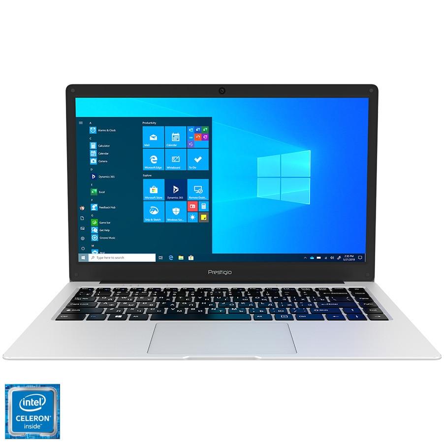 "Fotografie Laptop ultraportabil Prestigio Prestigio SmartBook 141 C5 cu procesor Intel Celeron N3350 pana la 2.40 GHz, 14.1"", HD+, 4GB, 64GB eMMC,slot pentru HDD/SSD 2.5"", Windows 10 Pro, Metal grey,"