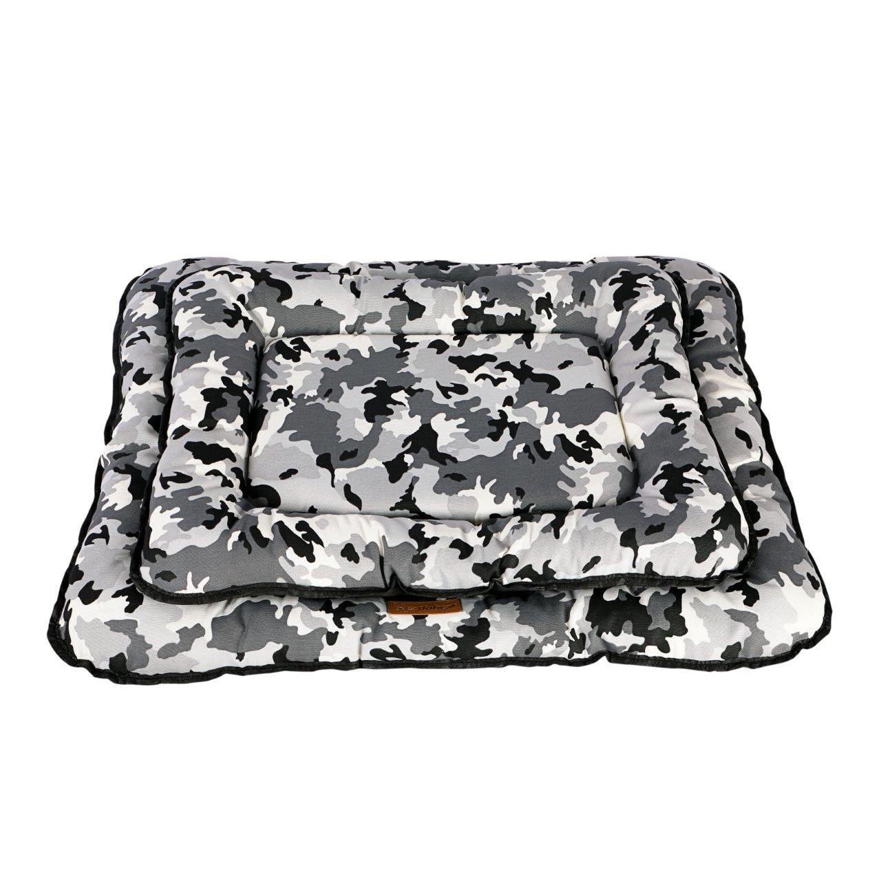 Fotografie Perna pentru caini si pisici 4Dog Deluxe Camouflage M, Gri-Negru, 70x48 cm