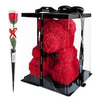 Rózsa maci díszdobozban, örök virág maci - piros 40 cm + ajándék szappanrózsa