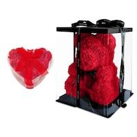Rózsa maci díszdobozban, örök virág maci - piros 40 cm + ajándék szappanrózsa szív
