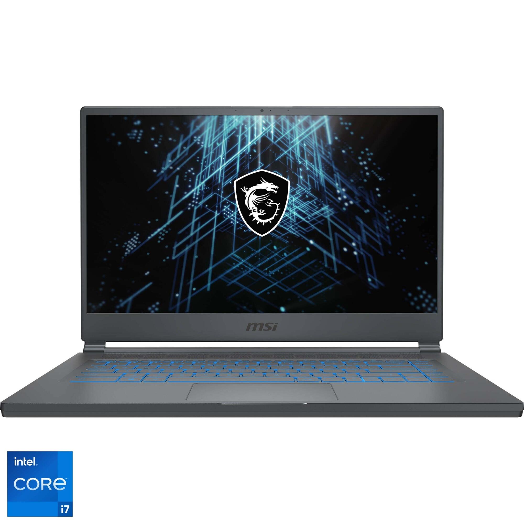 "Fotografie Laptop Gaming MSI Stealth 15M A11SDK cu procesor Intel Core i7-1185G7 pana la 4.80 GHz, 15.6"", Full HD, 144Hz, 16GB, 1TB SSD, Nvidia GTX 1660 Ti Max-Q 6GB, Free DOS, Carbon Gray"