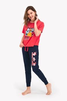 Disney, Mintás pizsama hosszú szárú nadrággal, korallszín/sötétkék/fehér