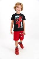 Disney, Пижама с къс панталон и щампа с анимационни герои, Черен/Червен/Син, 122-128 CM Standard