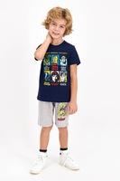 Disney, Пижама с къс панталон и щампа с анимационни герои, Тъмносин/светлосив меланж/жълт, 98-104 CM Standard