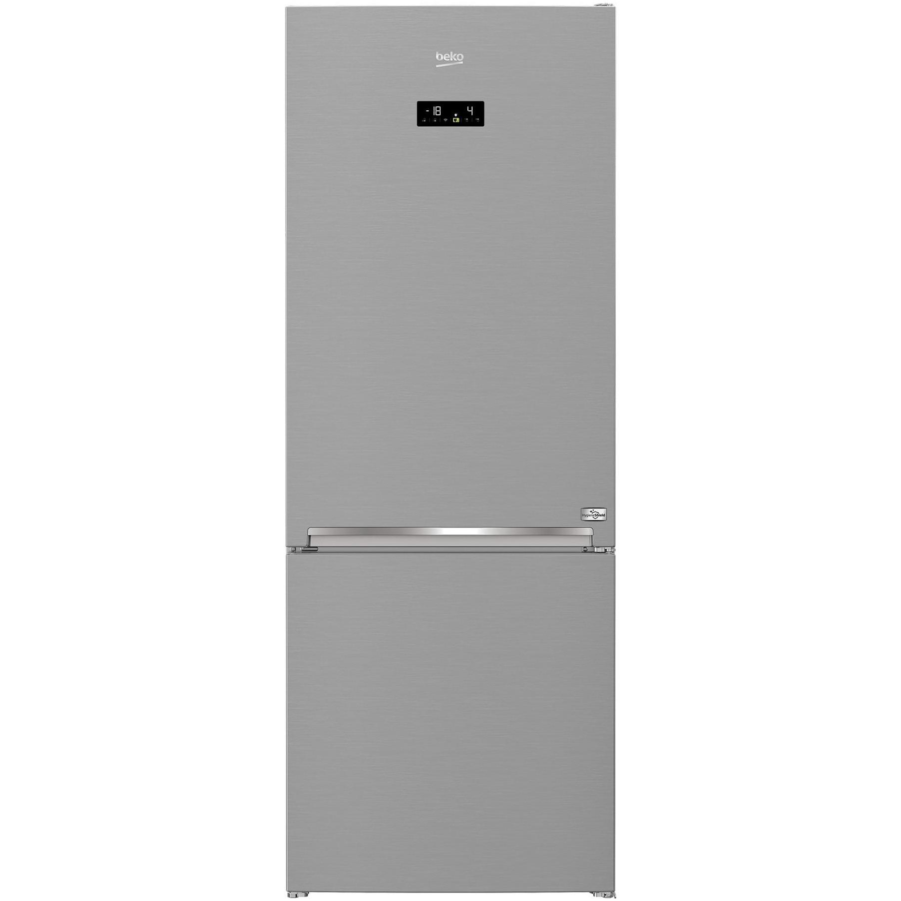 Fotografie Combina frigorifica Beko RCNE560E40ZLXPHUN, 495 l, Clasa E, Hygiene Shield, NeoFrost Dual Cooling, HarvestFresh, Wi-Fi, H 192 cm, Argintiu