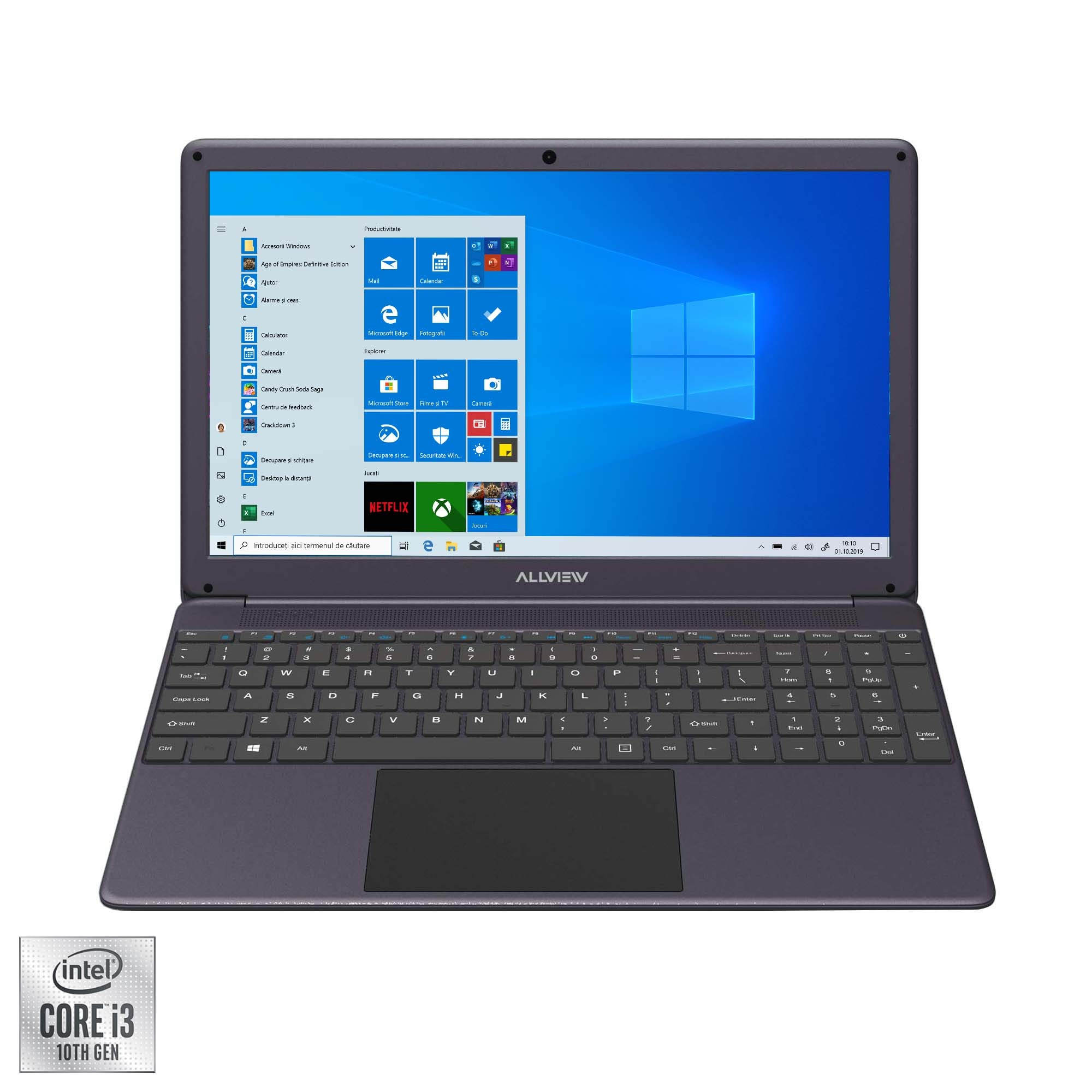 "Fotografie Laptop Allview Allbook I cu procesor Intel® Core™ i3-1005G1 pana la 3.40 GHz, 15.6"", Full HD, 8GB, 256GB SSD, Intel UHD Graphics, Windows 10 Home, Grey"