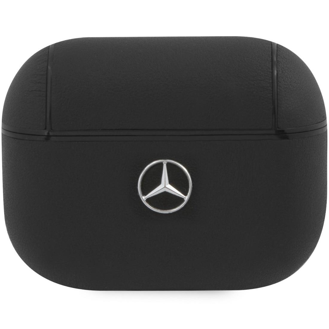 Fotografie Husa Airpods Mercedes Leather MEAPCSLBK pentru Airpods Pro, Black