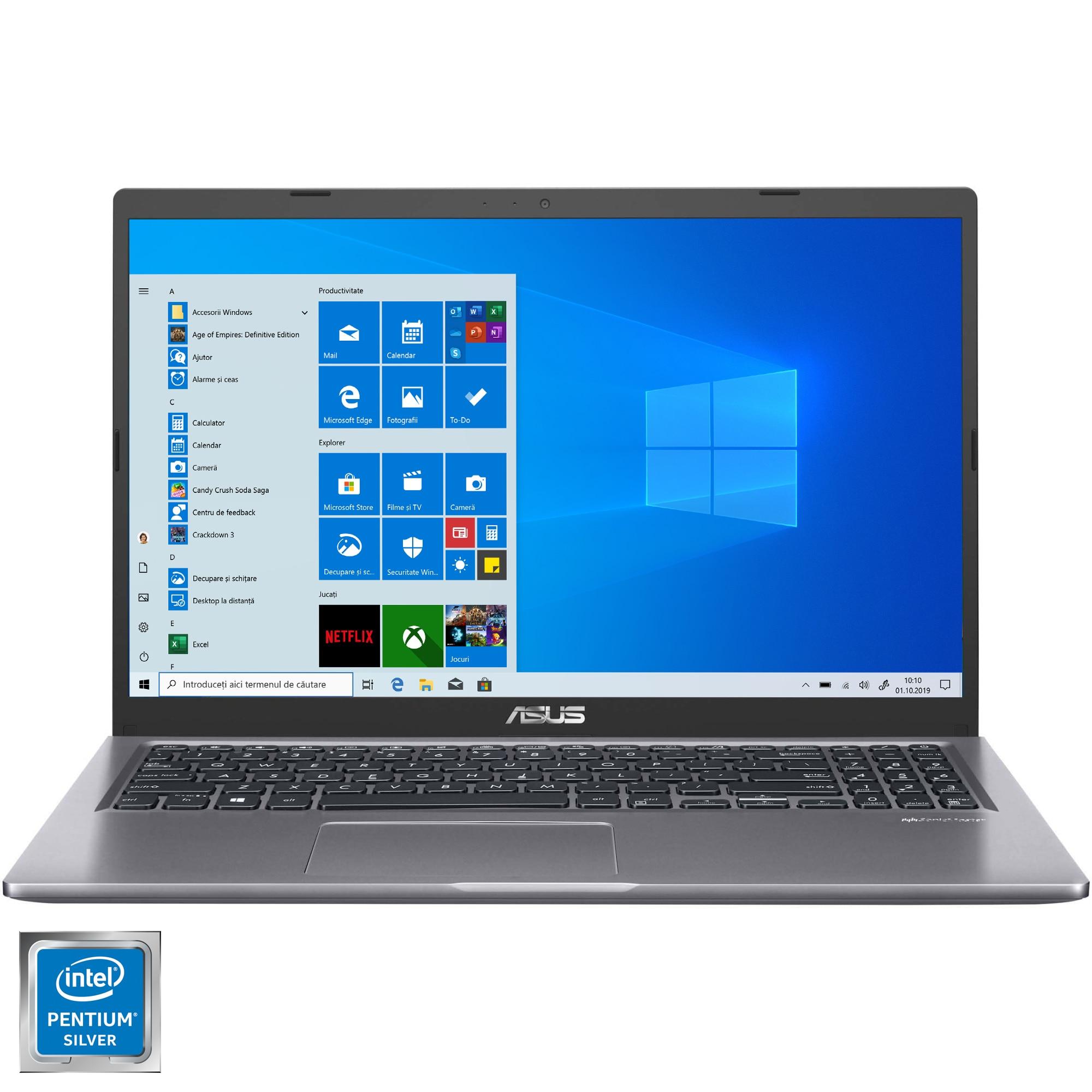 "Fotografie Laptop ASUS X515MA cu procesor Intel® Pentium® Silver N5030 pana la 3.10 GHz, 15.6"", HD, 4GB, 1TB HDD, Intel® UHD Graphics 605, Windows 10 Home, Slate Grey"