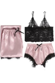 Pizsama TimeTrade L/XL éjszakai, csipke, fekete rózsaszín, szatén