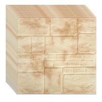 Selling Depot ® 3D Öntapadó Tapéta Készlet, 10 db, modern kivitelű, vízálló, könnyen tisztítható, 70x70cm, dombornyomott kő, sárga / krém