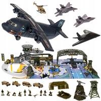 Játék harckocsi és repülő szett, katonai bázissal, sok elemmel